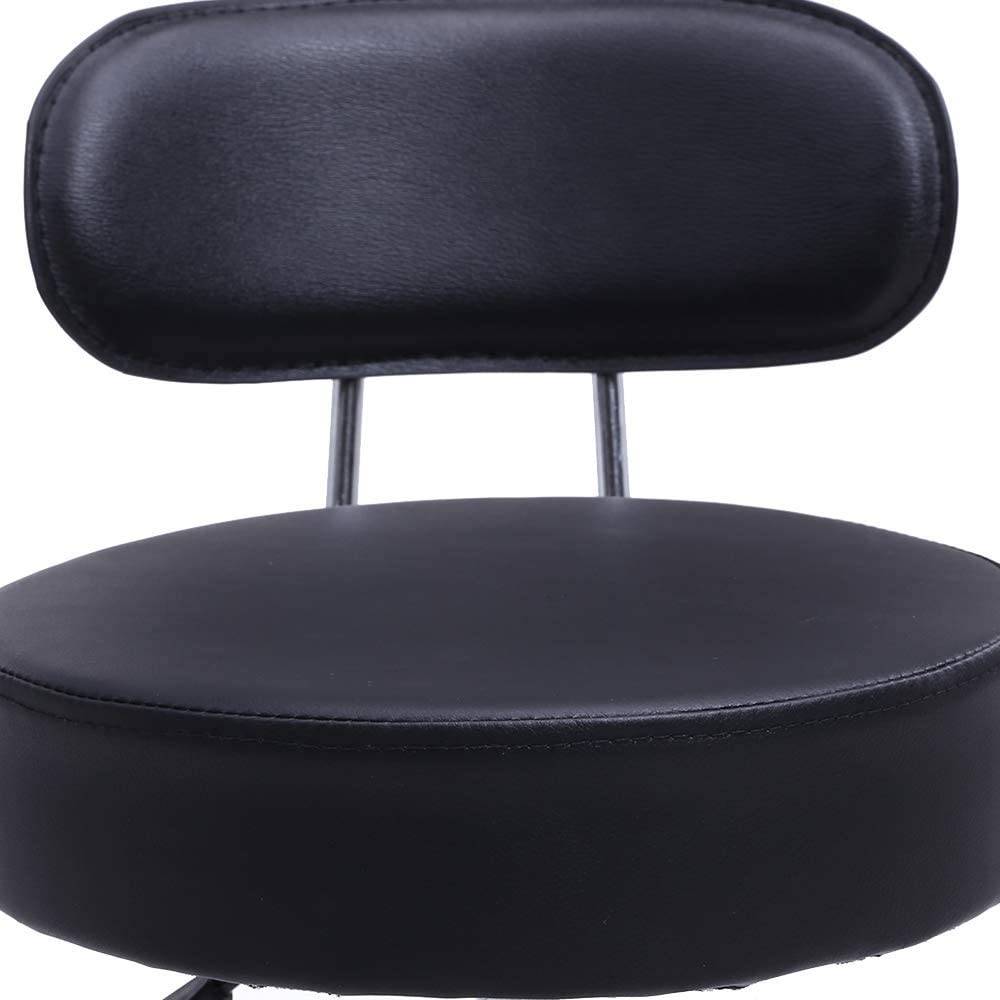 SXRDZ PU Tabouret Roulant en Cuir avec Mid Retour à Hauteur réglable Ordinateur de Bureau médical Accueil Drafting pivotant Siège de Travail avec Roues (Noir) (Color : White) Black