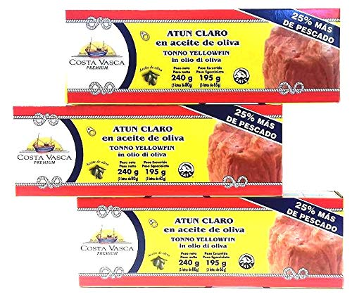 Atún Claro en Aceite de Oliva COSTA VASCA - 3 x 80g - [3 packs / 9 latas]