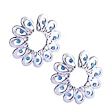 CrazyPiercing 1Pair Surgical Steel Blue Faux Crysta Tribal Floral Clip on Non-Pierce Fake Nipple Ring (Blue)
