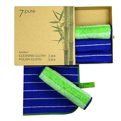 Conjunto de bambú 7.PURE | 2 x bayetas y 3 x trapos para sacar brillo | Limpieza sin limpiadores – antibacteriano – sin pelusas – sin polvo | limpieza sin esfuerzo | Bayeta, trapo de limpieza, gamuza