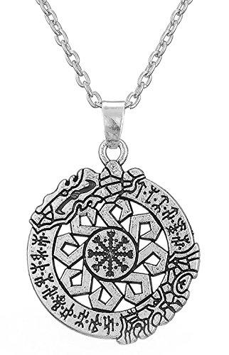 Dawapara Ancient Talisman Wolfsangel Rune The Helm of Awe Aegishjalmur - Colgante para Hombre y Mujer