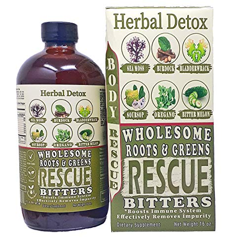 Wholesome Roots & Greens Rescue Bitters 16oz. Living Detox Bitters, Moringa, Soursop, Women Wellness, Blood Purifier, Kidney, Liver Cleanser