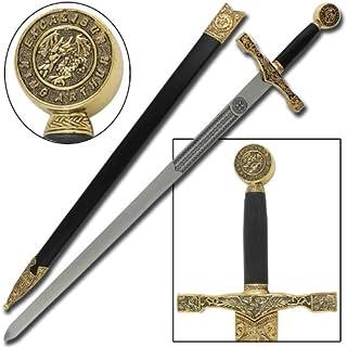 King Arthur Excalibur Replica Steel Blade Medieval Longsword Gold
