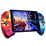 ipega-PG-9083B Wireless 5.0 Smart PUBG Mobile Game Controller Retractable Game Gamepad for iOS(iOS 11-13.3)/Android Mobile Smartphone Tablet (Red-Blue)