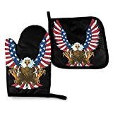 gong American Flag Eagle Angel Unicorn Oven Mitts Pot Holders Set, Heat Resistant Waterproof Kitchen Oven Gloves for Cooking BBQ Baking