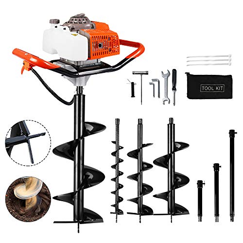 ECO LLC 63cc Post Hole Digger 3.4HP 2 Stroke Petrol Gas Powered Earth Digger with 4 Auger Drill Bits (4' 6' 10' & 12') + 3 Extension Rods for Farm Garden Plant