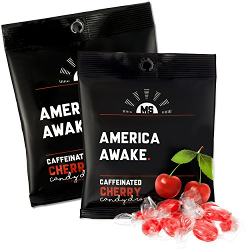 America Awake Cherry Flavor Caffeinated Candy - Extra Energy Brain Focus 40 milligrams Caffeine Anhydrous Per Serving - Made in the USA
