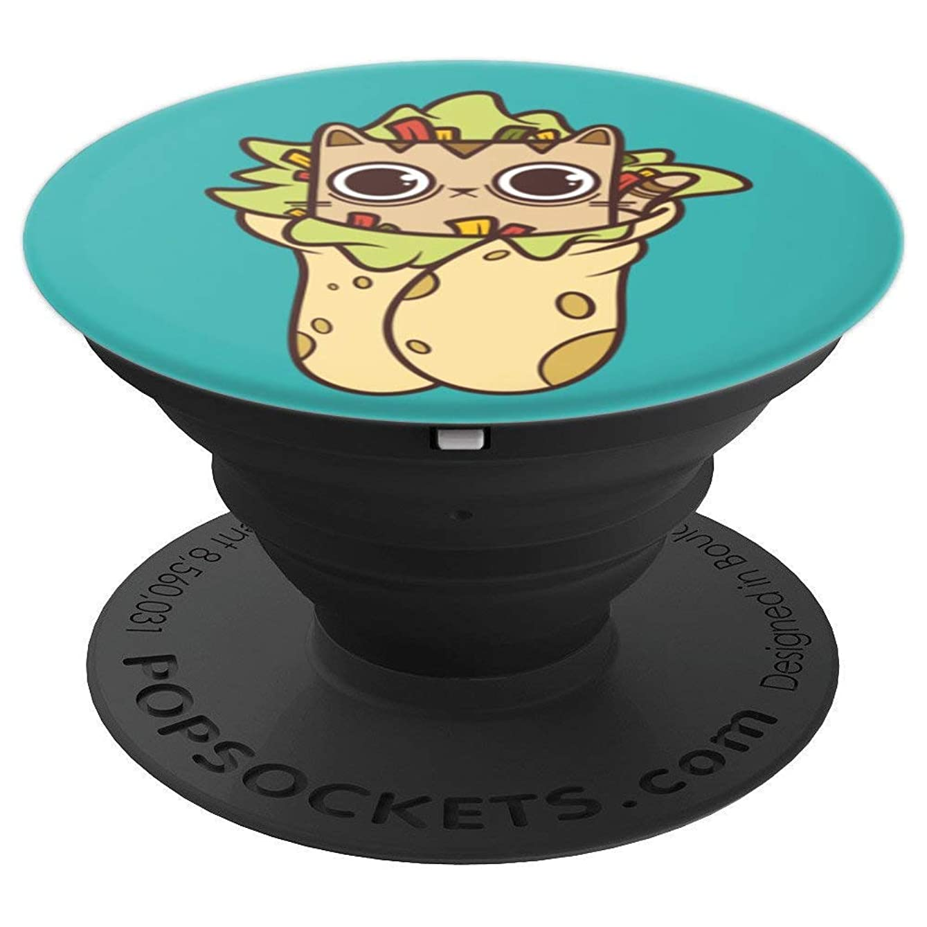 Cute Kawaii Purrito: Burrito Taco Cat by Fudo Cats - PopSockets Grip and Stand for Phones and Tablets haxdyd072676