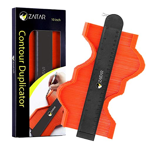 ZAITAR Shape Contour Gauge Profile Tool 10 Inch- Deep Shape Duplicator Template Tool Plastic Ruler Profile Gauge with Metal Lock-Precise Outline Gauge to Mark Odd Shapes on Tiling Laminate Woodworking