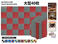 エースパンチ 新しい 40ピースセットグレーと赤 500 x 500 x 20 mm ウェッジ 東京防音 ポリウレタン 吸音材 アコースティックフォーム AP1035