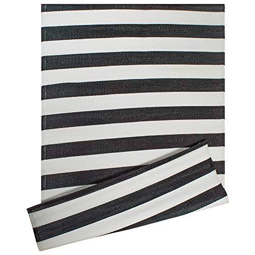 DII Reversible Indoor Woven Striped Outdoor Rug, 4x6, White & Black