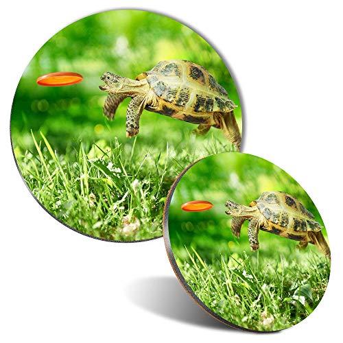 Juego de alfombrilla para ratón y posavasos, diseño de tortuga tortuga, 20 cm y 9 cm, para ordenador y portátil, oficina, regalo, base antideslizante #14390
