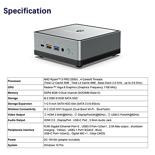 Mini PC AMD Ryzen 5 | 16 GB RAM 512 GB SSD | Radeon Vega 8 Graphics | Windows 10 Pro | Intel WIFI5 BT 5.1 | 4K HDMI/Display/USB-C |2X RJ45 Gigabit | 4X USB |Small Form Factor