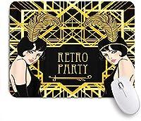 NINEHASA 可愛いマウスパッド フラッパーガールレトロパーティ招待状デザインチャールストン1920S1930S 20S30S美しい ノンスリップゴムバッキングコンピューターマウスパッドノートブックマウスマット