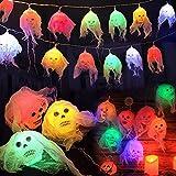 Luces de Cuerda de Calavera de Halloween, 5M 20LED Halloween Skeleton Skull Lights Luces de calavera Cadena de Luces de Gasa Blanca Luces de hadas de colores para decoración de Halloween