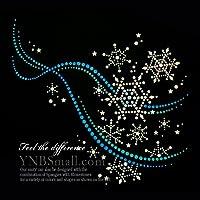 【スパングル】 スパンコールモチーフ (雪の結晶 流線型ブルー系 ) アイロン接着 XLサイズ