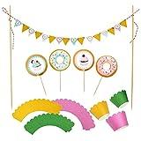 Jolintek Buñuelo Cupcake Topper Set, Cupcake Topper de Tarta Magdalenas Decoración y Doble Cara Cupcake Wrappers para Niños Infantiles Fiesta y Tarta de Cumpleaños Decoraciones 49 pcs