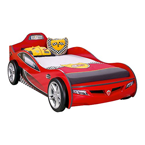 Cilek Race Cup Car Children Bed Frame, Twin, Red