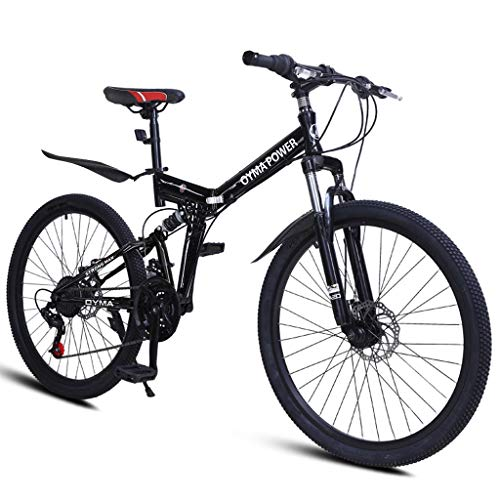 Lipoipo 26 Inch Folding Adult Mountain Bikes 21 Speed Bicycle High Carbon Steel MTB Bikes with Dual Disc Brakes Outdoor Road Bikes for Men Women and Teens (Black, 26 inch)