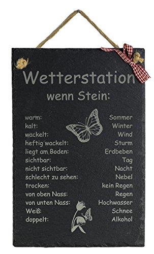 Feiner-Tropfen Schiefertafel Wetterstation B 20 x H 30cm Balkon Terrasse Gravur