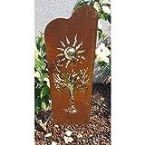 Pflanzen Kölle Beetstecker Baum rechteckig, Roststahl, 1 Edelstahl-Kugel, Zwei Bodenstecker, Maße 130 x 30 x 5 cm