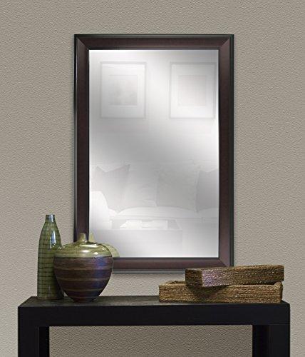 DesignOvation Virgo 23x34 inches Black and Mahogany Over The Sofa Framed Wall Mirror