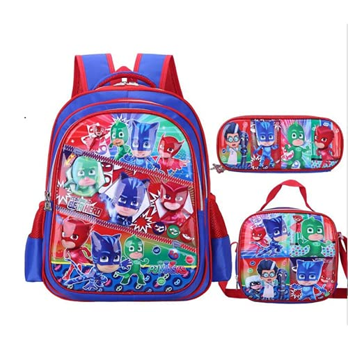 Amacigana Superheld - Set zaino da ragazzo, principessa, borsa per la scuola, 3 – 6, borsa per il pranzo + astuccio carino caricatura per bambini, regalo per la scuola (3,42 x 32 x 16 cm)