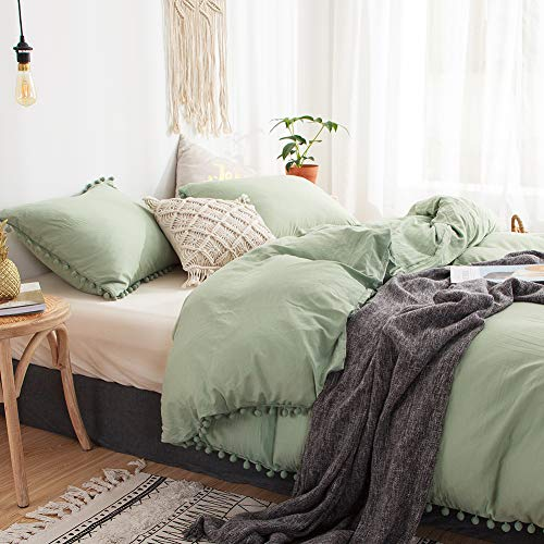 3 Pieces Green Bedding Dark Green Duvet Cover Set Ball Fringe Pattern Design Soft Dark Sea Green Bedding Sets Queen 1 Sage Green Duvet Cover 2 Pillowcases (Queen, Dark Sea Green)