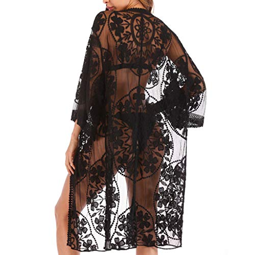 AmyGline Damen Kimono Cardigan Strand Chiffon Bluse Tops Bikini Cover up/Bohemia Floral Kimono/SexyHohl Bikini Bluse/Spitze böhmischer Strand Kimono Mantel