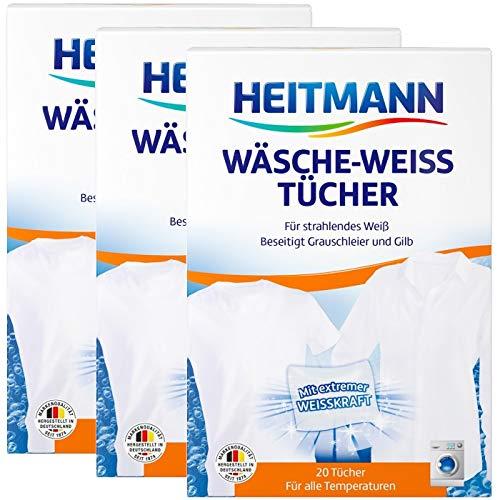 Heitmann Wäsche Weiss Tücher (20 Tücher, Weiss): Für ein extrem kraftvolles Weiß, 3er Pack