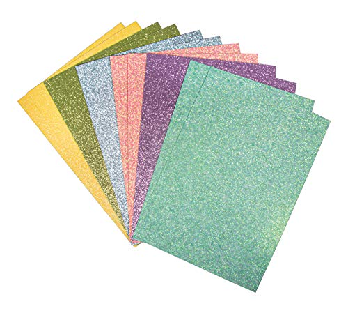 Rayher 67364000 Glitterpapier Mix - Pastell, selbstklebend, 12 Blatt, DIN A5, 14,8 x 21 cm, 130g/m2, 6 Farben sortiert, Glitzer-Papier zum Basteln