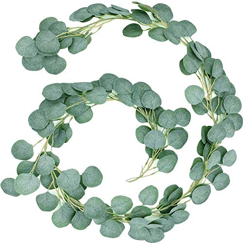 6.6Ft Eucalyptus Garland Foliage Garland Green Leaves Fake for Wedding Party Garden Arch Wall Decor