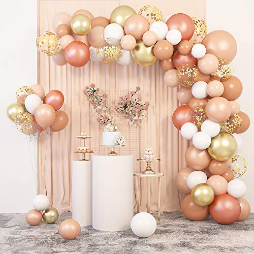 129 Pcs Blush Balloons Garland Arch Kit 12' 10' 5' Peach Rose Gold Pastel Orange Confetti Latex Metallic Balloons with 4Pcs Tools for Wedding Birthday Party Baby Shower Decorations