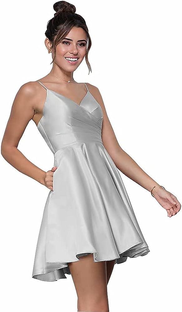 V-Neck Short Homecoming Dress with Pockets Spaghetti Straps Cocktail Dress