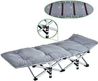 Recliner Chair Heavy Duty Outdoor Adults Folding Camping Bed Portable with Cushions, Sun Lounger with Carry Bag for Camping Home Office, Support 400kg