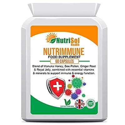 Nutrimmune Immune Support Supplement 60 Capsules, Royal Jelly, Bee Propolis, Manuka Honey, Bee Pollen, Elderberry, Ginger, Resveratrol, Selenium, Vitamins C, D, E, Zinc, Immune System & Energy Support