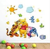 Wall Sticker,Cute Winnie The Pooh Bear Tiger for Kids Room Cartoon Kindergarten Wall Decal Nursery Room Decor 46X74Cm