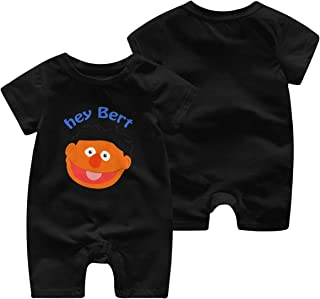 Hey Bert Newborn Unisex Baby Boys Girls Double-Sided Printing Bodysuit Short Sleeve Jumpsuit