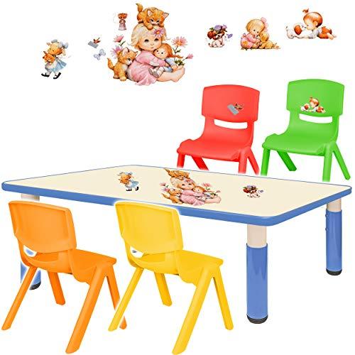 alles-meine.de GmbH Sitzgruppe für Kinder - Tisch + 4 Kinderstühle - Größen & Motiv & Farbwahl - Kinder & Tierbaby / blau - höhenverstellbar - 1 bis 8 Jahre - Plastik - für INNEN..