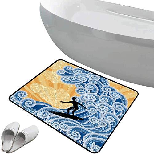 Alfombra de baño antideslizante Ola suave antideslizante Surfer Slides en Big Wave estilizado Diseño rizado Remolinos de agua Grunge Retro Fun Decorativo,Negro Azul Albaricoque Para ducha Felpudo Dorm