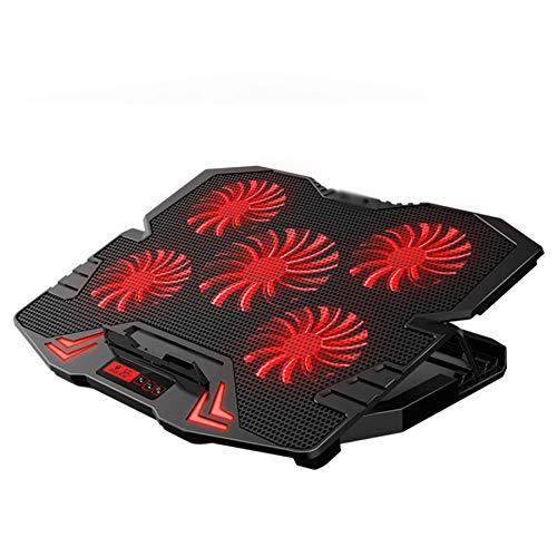 Refrigerador portátil,para Base de Refrigeración para Ordenador Portátil de 12-17 pulgadas,ventilador para portatil,5 ventiladores silenciosos y 5 base regulables en altura,dos puertos USB,azul y rojo
