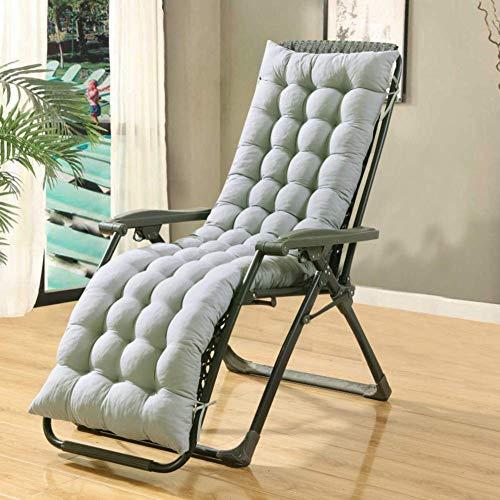 ZGYQGOO Lounge Stuhl Kissen, Terrasse Liegestuhl Kissen für Outdoor Veranda Garten Hinterhof Freizeit Werkzeuge Sitzpolster für Chaise (nur Kissen) -grau 160x48cm (63x19inch)