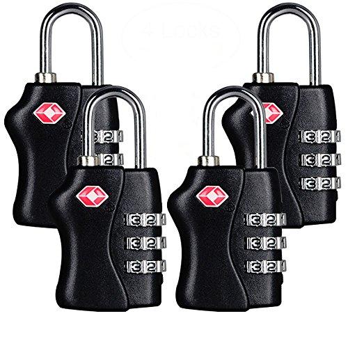 TSA Security Combination Lock Suitcase Luggage Bag Code Lock Padlock (Black-4 Pack)