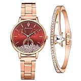 Damenuhr Roségold Uhr Minimalistisch Damen Armbanduhr Paar Uhren Elegant Wasserdicht Armbanduhr Lässige Uhren für Frauen Mädchen Ultradünne Set mit Armreif(Rot)