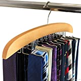 ANSHUMAN WITH DEVICE. WITH DEVICE Multi Purpose Wooden Tie Hanger with 24 Stainless Steel Hooks Can Be Used as Organiser Rack Hanging Belt, Scarves, Bags & for Gifting