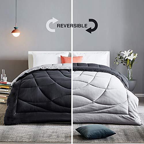 SLEEP ZONE All Season Comforter Down Alternative Soft Temperature Regulation Reversible Duvet, Black+Grey, King
