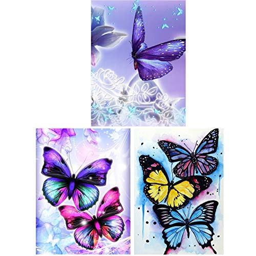 HaiMay 3 Pack DIY 5D Diamond Painting Kits Full Drill Painting Butterfly Diamond Pictures Arts Craft for Wall Decoration, Butterfly Diamond Painting Style (Canvas 10×12 inches)