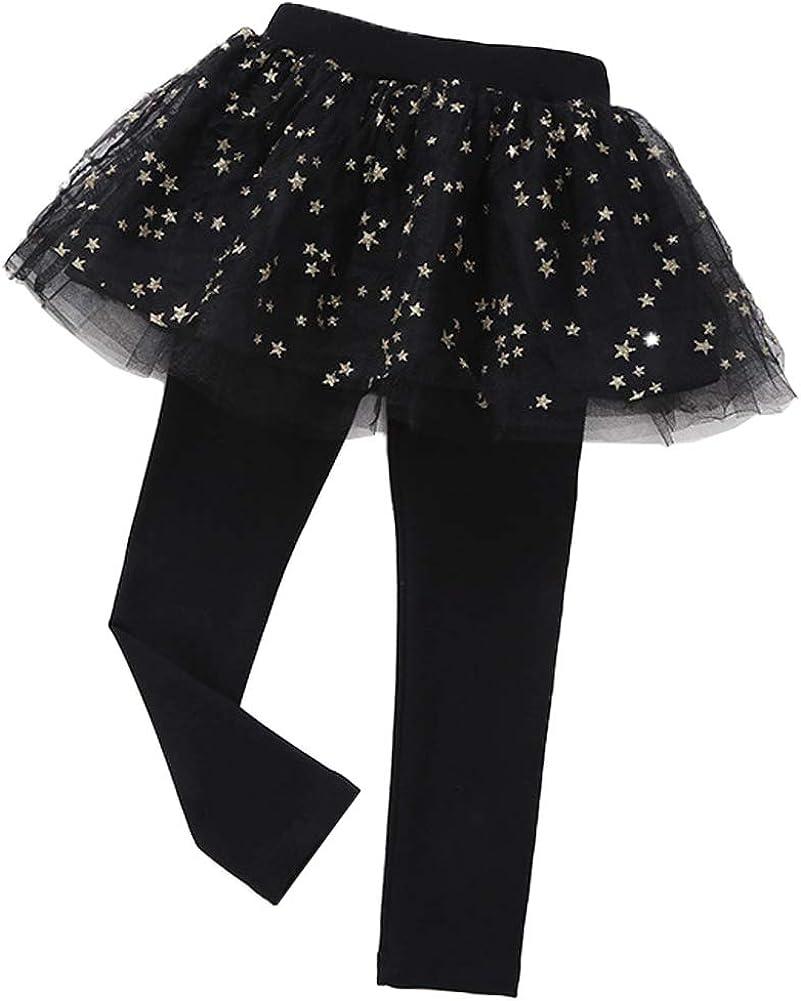 Little Girls Footless Leggings with Tutu Ruffle Twinkle Star Skirt Stretchy Cotton Pantskirt