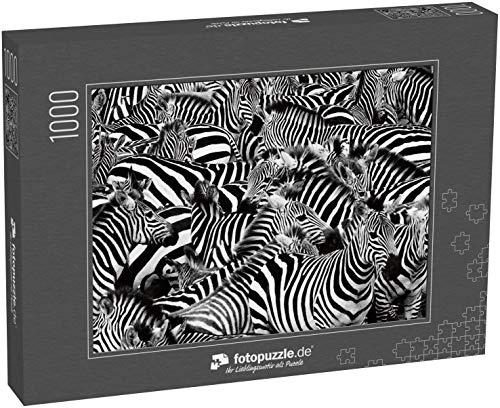 Puzzle 1000 Teile Zebra Herde dicht gepackt - Klassische Puzzle, 1000 / 200 / 2000 Teile, edle Motiv-Schachtel, Fotopuzzle-Kollektion 'Impossible Puzzle'