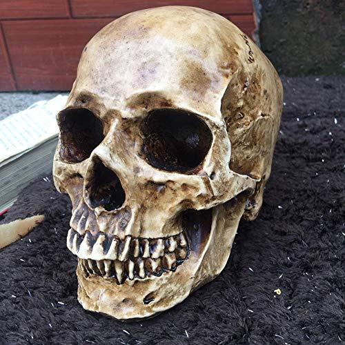 SBDLXY Decoracin de Halloween del crneo, Resina Estatua del crneo Humano Rplica Sculptur Figurine Jaw Moveable Desktop Skull Souls Adornos del crneo Decoracin del hogar-c 15x10cm (6x4inch)